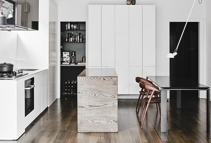 скандинавский монохромный дизайн небольшой квартиры